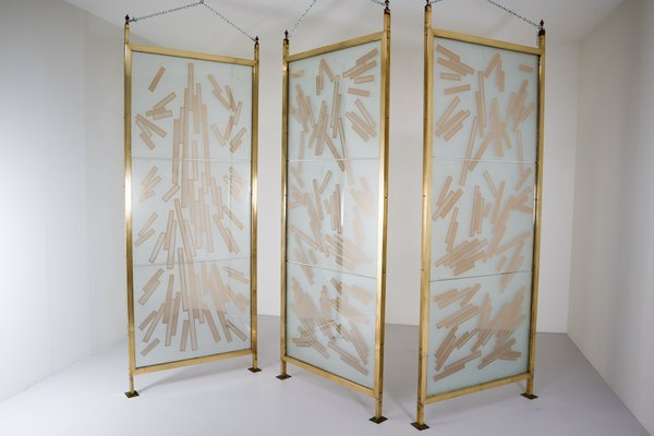 Czech Brass And Etched Art Glass Room Dividers 1993 Set Of 3 For Sale At Pamono