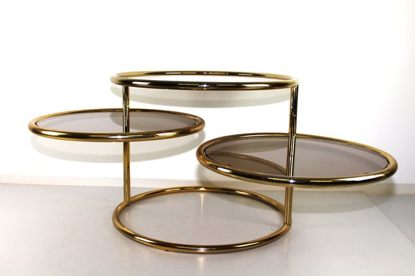 brass glass swivel coffee table 1970s