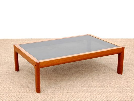 large mid century scandinavian teak and black glass coffee table 1970s