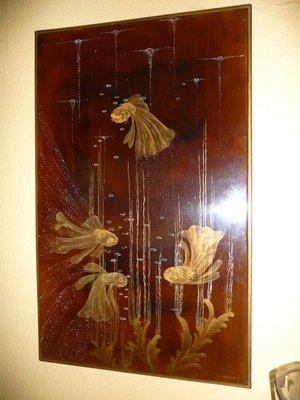 peinture de poisson exotique art deco par louis midavaine 1920s