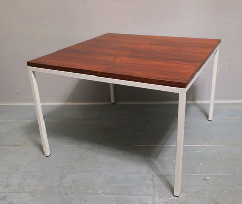 mid century rosewood coffee table with white lacquered metal legs 1960s
