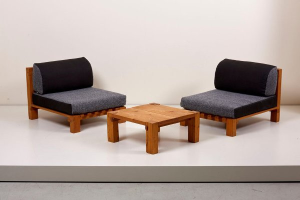 lounge chairs and coffee table set in the style of charlotte perriand 1950s set of 3