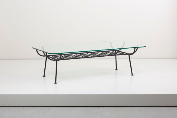 wrought iron coffee table with glass top by george nelson for arbuck 1950s