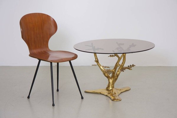 brass tree sculpture coffee table with round glass top 1970s