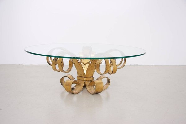 large italian hollywood regency gilt wrought iron coffee table with glass top 1960s