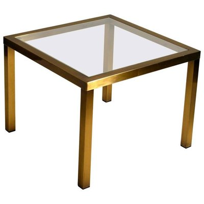 minimal square brass coffee table with clear glass top from belgo chrome 1970s