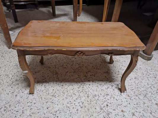 italian wooden coffee table with curved legs 1960s