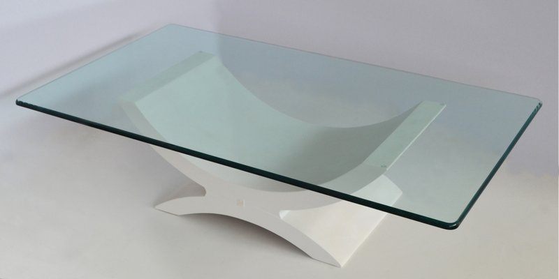 coffee table with crystal top wood base with white ecological shagreen details from cupioli luxury living