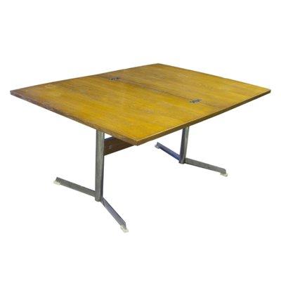 table basse ou de salle a manger pliante sur socle en metal chrome 1960s