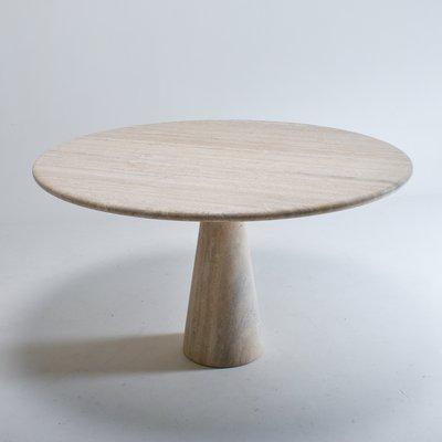 italian round travertine dining table 1970s