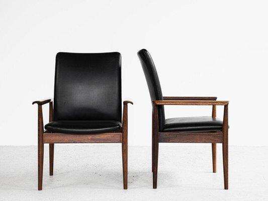 chaises a dossier haut en cuir noir et en palissandre par finn juhl pour france son 1960s set de 2