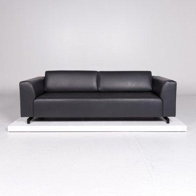 square dark grey anthracite leather corner sofa from wittmann