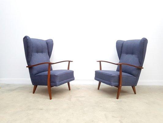 fauteuils a haut dossier bleu marine 1950s set de 2