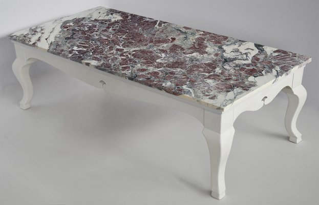 rectangular coffee table red paonazzo marble top and white lacquered wooden base handmade frolm cupioli