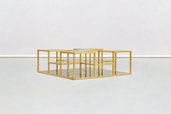mid century italian golden frame and smoked glass multilevel coffee table 1960s