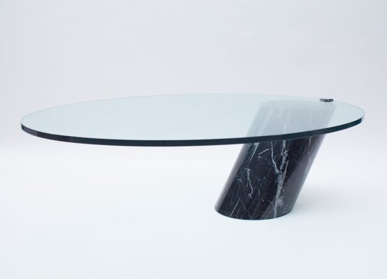 black marble and glass coffee table model k1000 by team form for ronald schmitt 1970s