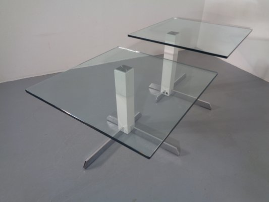glass and metal side tables from wk wohnen 1990s set of 2