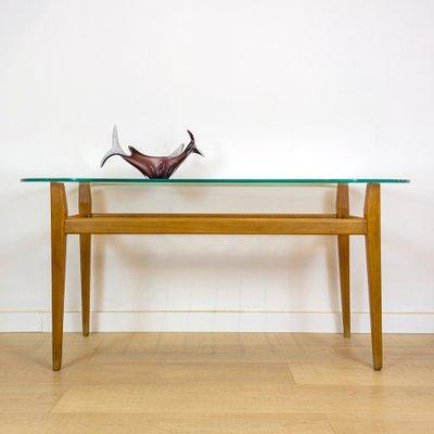 mid century israeli wood and glass coffee table 1950s