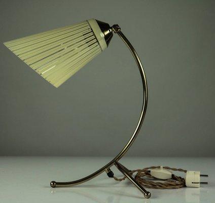 lampe de lecture vintage en pied de corbeau et en verre 1950s