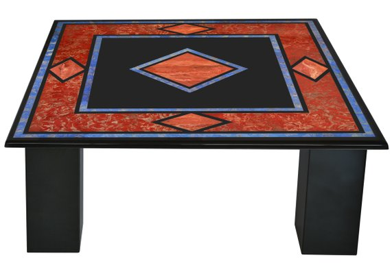 black square coffee table with inlaid slate top and 4 slate columns handmade in italy from cupioli