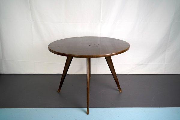 vintage italian mahogany round side table in the style of osvaldo borsani 1950s