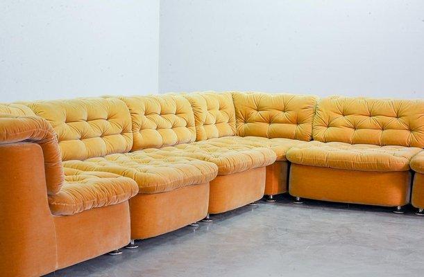 large german modular lounge sofa in ochre peach velvet fabric from dreipunkt international 1970s set of 6
