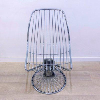 chaise pivotante en fil de fer 1960s