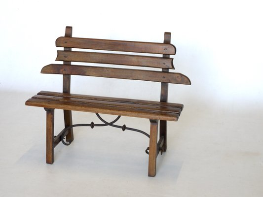 banc rustique en bois et en fer forge 1920s