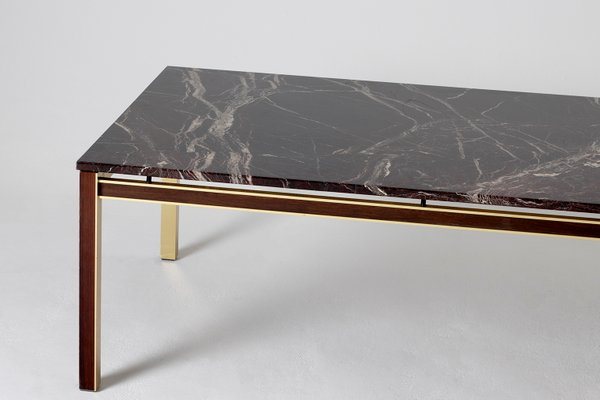 large mid century brass mahogany marble top coffee table 1970s