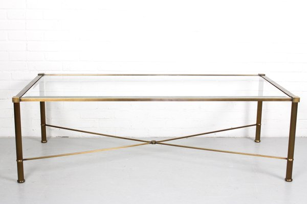 vintage faux brass metal and glass coffee table 1960s