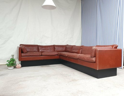 mid century danish leather corner sofa