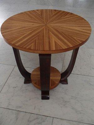 art deco round mahogany and zebrano coffee table 1930s