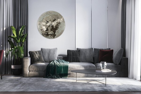 Extra Large Wall Clock In Grey Silver Black Abstract Art With Lights By Craig Anthony For Sale At Pamono