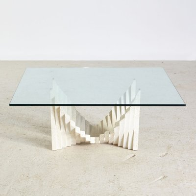 vintage stone based glass coffee table 1970s