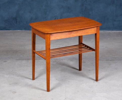 mid century danish teak side table with small drawer 1960s