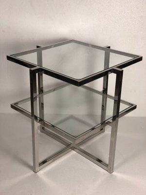vintage chrome aluminium 2 glass shelf side table 1970s