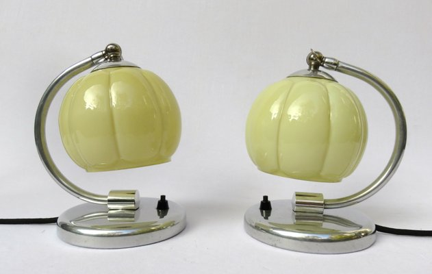 lampes de chevet art deco en aluminium set de 2