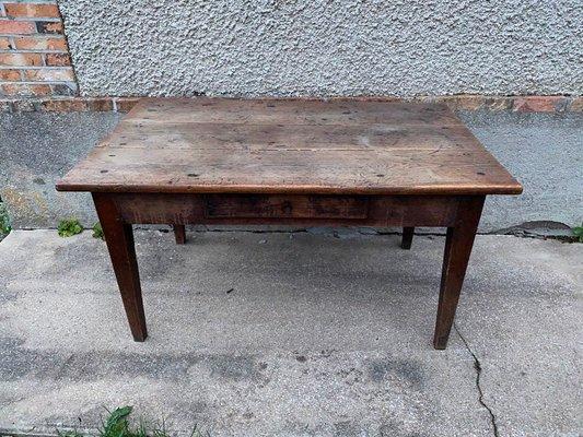 table de ferme vintage en chene massif avec tiroir