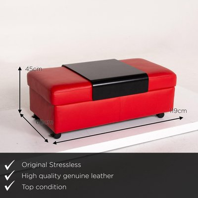 red leather storage ottoman with tray function from stressless