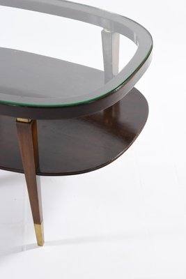 mid century italian oval double shelf coffee table with brass details 1950s