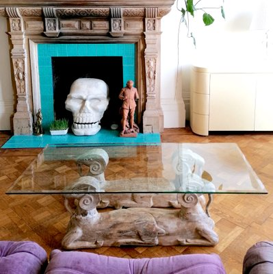 large hollywood regency carved wood 2 headed ram coffee table with glass top usa 1970s