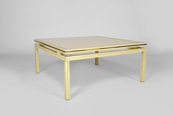 mid century lacquered aluminium brass coffee table by pierre vandel