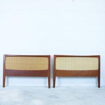 teak rattan headboard footboard 1960s set of 2