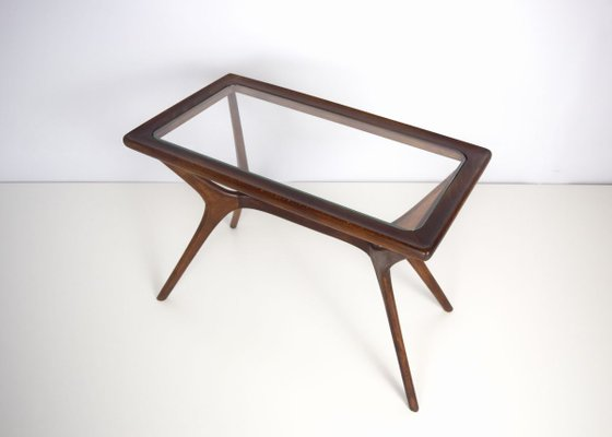 mid century modern coffee table in massive wood glass italy 1950s