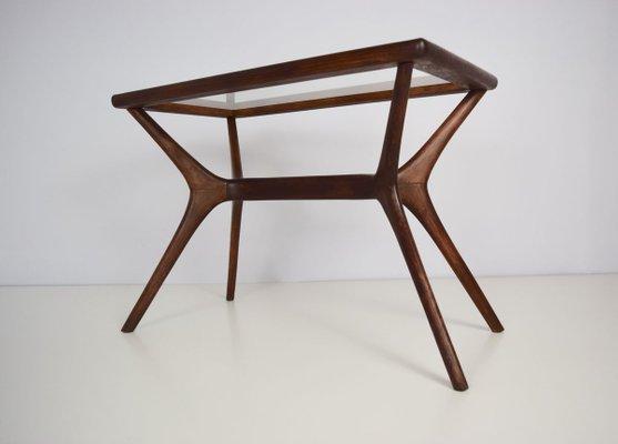 table basse mid century moderne en bois massif verre italie 1950s