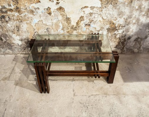 coffee table with wooden base glass top italy 1950s