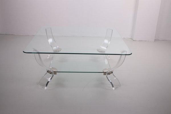 plexiglass coffee table with heavy glass plate 1970s