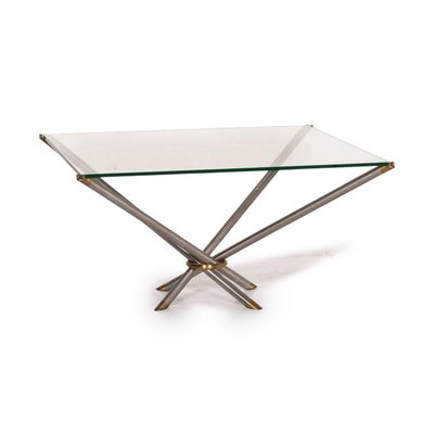 glass metal brass square coffee table from draenert