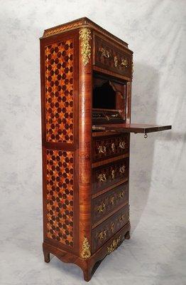 napoleon iii marquetry cubes rosewood secretaire