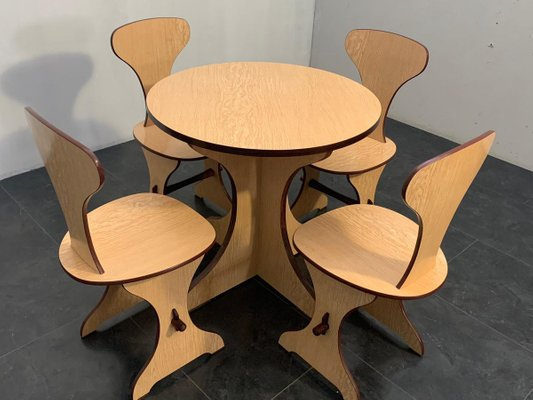 curved plywood and laminate rosewood dining table chairs set from pedini fano 1960s set of 5